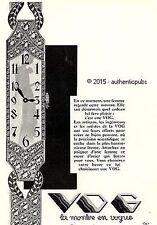 PUBLICITE VOG MONTRE BRACELET POUR FEMME BIJOU DE 1929 FRENCH AD PUB ART DECO