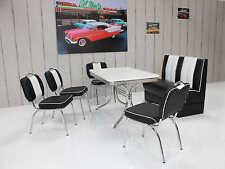 Bank Stuhlgruppe Vegas King 6 American Diner 50er Jahre 6 teilig Schwarz Weiß