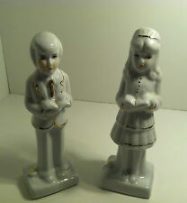 WHITE CERAMIC MAN AND WOMAN CAKE TOPPER FIGURINES WEDDING CONFIRMATION