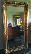 ANTIQUE GOLD LARGE FRENCH OVERMANTLE WOOD WALL DRESS LEANER MIRROR 6FT x 3FT