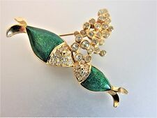 Cute Vintage Designer Enamel & Rhinestone Kissing Fish Brooch