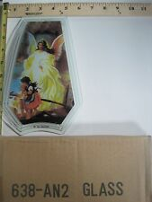 FREE US SHIP OK Touch Lamp Replacement Glass Panel Angel with Kids 638-AN2