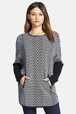 NEW Nordstrom Collection Jacquard Leather Trim Cashmere Poncho Sweater XS $448