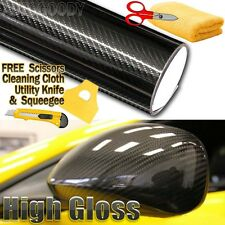 "120""x60"" Premium 5D HIGH GLOSS Black Carbon Fiber Vinyl Bubble Free Air Release"