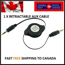 Gold 3.5MM Black Aux Retractable Cable Cord for iPod/iPhone/Zune/Car Stereo/MP3