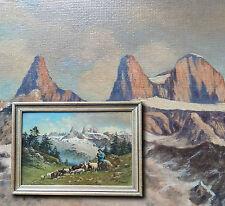 Alpine Landschaft mit Schäfer. Schönes altes Ölgemälde KAREL VOBORIL (*1893)