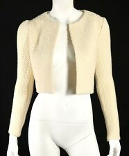 CHLOE Chinaware Ivory Wool Boucle & Knit Sleeve Cropped Cardigan Sweater 34