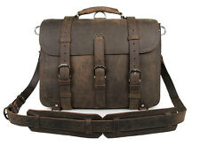 Mens Full Grain Leather Shoulder Briefcase Messenger Bag Satchel Fit 17'' Laptop