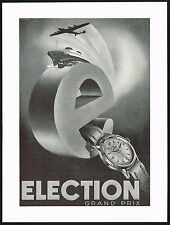 1950s Vintage 1951 Election Grand Prix Watch Mid Century Modern Art Print AD .