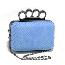 Women's Petite Snakeskin Faux Leather Clutch with Knuckle Ring Handle - Blue