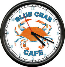 Seafood Restaurant Diner Blue Crab Cafe Nautical Maine Ocean Sign Wall Clock