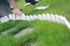 Plastic Garden Fence Panels Boarder Lawn Palisade Edge Patio Fencing WHITE KRA