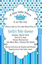 30 Prince Invitation Baby Boy Shower Invite Card Bue Crown Royal Party
