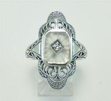 Art Deco Antique Camphor Glass Ring Diamond Sunray Cut Size 7 Stunning Sterling