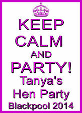 ✿✿KEEP CALM AND PARTY! NEW HEN NIGHT IRON ON TRANSFER CREATE T SHIRTS CHEAPLY ✿✿