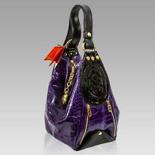 MARINO ORLANDI Italian DESIGNER CLASSIC PURPLE CROC LEATHER BUCKET SLING BAG