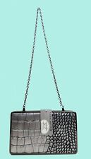 JESSICA McCLINTOCK Silver Snake Skin Leather Clutch/Shoulder Bag Msrp $24.99