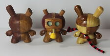 Custom Kidrobot Dunny Lot of 3 Faux Wood