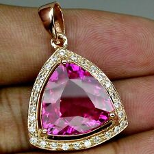 WONDERFUL PLATINUM PINK TOPAZ & WHITE SAPPHIRE GEMS 925 SILVER PINK GOLD PENDANT