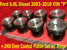 Ford 6.0 6.0L Diesel Pistons +.040 03-10 MAHLE Clevite Coated w/ Rings Set of 8