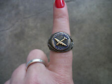 WWII 1944 B-24 Test Pilot wings sterling 14k gold bomber ring 8.5