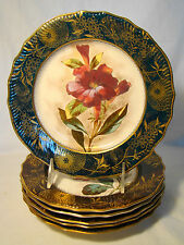 """Set of 6 Artist Signed Early Doulton Floral Plates 8"""" dia 1882-1883"""