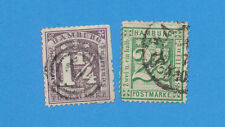 HAMBURG Germany - scott 22 & 23 perf 13 1/2 used.   #23 small thin