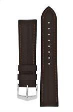 22mm Hirsch JAMES Calf Leather Performance Watch Strap in BROWN BLACK NEW