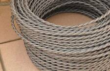 GRAY ANTIQUE BRAIDED/WOVEN SILK/FABRIC LAMP CABLE/WIRE/CORD LIGHT/ELECTRIC FLEX
