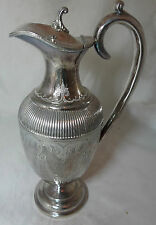 Victorian EPBM Silver Plated Claret Jug By Fenton Brother 25cm A595817