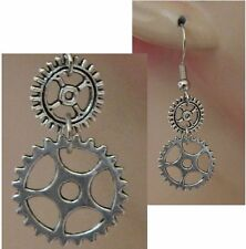 Silver Steampunk Gears Charm Drop/Dangle Earrings Handmade Hook NEW Accessories