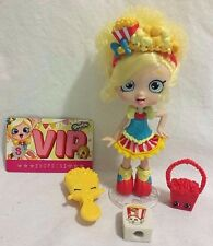 SHOPKIN SHOPPIES DOLL POPETTE with purse, brush, pencil top eraser, and more EUC