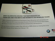2014 Sochi Olympic Pin Card   TEAM USA - 2 Man Bobsled - RARE BMW VERSION