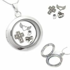 Memorial Living Memory Locket Necklace Pendant Chain With Floating Charms Gift