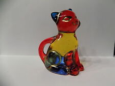 "CC Zecchin Italian Crystal MURANO 3"" Cat Figurine  Rainbow Colors & gold accents"