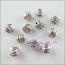12Pcs Antiqued Tibetan Silver Tone Tiny Round Ball Spacer Beads Charms 6mm