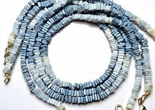 NATURAL GEM PERUVIAN BLUE OPAL SMOOTH 4.5MM SQUARE HEISHI BEADS NECKLACE 16""