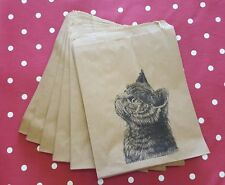 Chaton chat noël kraft sacs cadeau-style vintage lot de 10-stocking filler