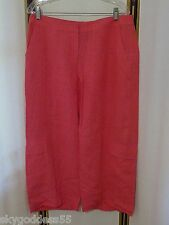 NWOT EILEEN FISHER FUN PINK LINEN LOWER RISE CROP CARGO CASUAL PANT SPRING! M