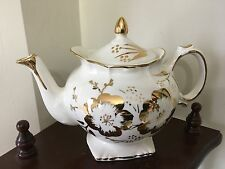 Tea Pot Price Kensington Potteries England White Gold Flowers with history vntg