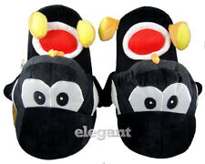 "Nintendo Super Mario Brothers Bros Black Yoshi Adult 11"" Soft Plush Slipper"