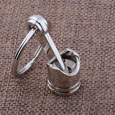 1pc Originality Engine Auto Car Part Silver Metal Piston Model Alloy Keychain