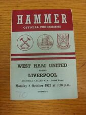08/10/1973 West Ham United v Liverpool [Football League Cup] (folded, writing on