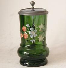 Antique Green Glass German Beer Stein with High Raised Enameled Decor c.1870
