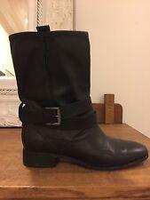 Belle by Sigerson Morrison Biker Boots Black Leather 8 Luxury Brand Retail $450