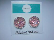 12mm Faux Druzy Stud Earrings Silver Tone Iridescent Pink Resin Handmade