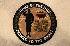 """HARLEY """"HOME OF THE FREE THANKS TO THE BRAVE"""" PATCH - MILITARY SALUTES USA"""