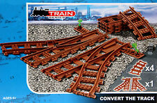 2 Switch Junction Tracks And 4 Curved Brown Building Block Brick Train Tracks