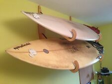 Double surfboard wall rack wooden