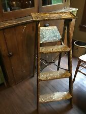 Vintage Aged 3 Step Wooden Ladder Unique  Metal Top Tray Garden Decor Primitive